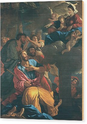 The Apparition Of The Virgin The St James The Great Wood Print by Nicolas Poussin