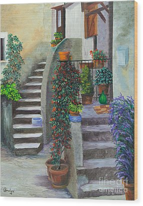 The Back Stairs Wood Print by Charlotte Blanchard