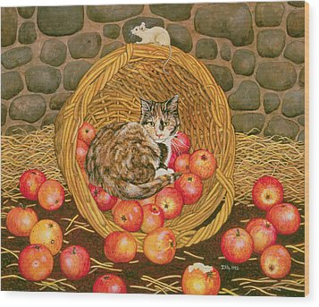 The Basket Mouse Wood Print by Ditz