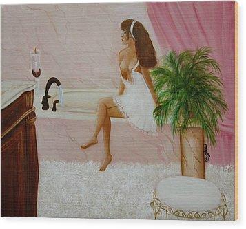 The Bath Wood Print by Joni McPherson