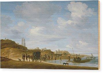 The Beach At Egmond An Zee Wood Print by Salomon van Ruysdael