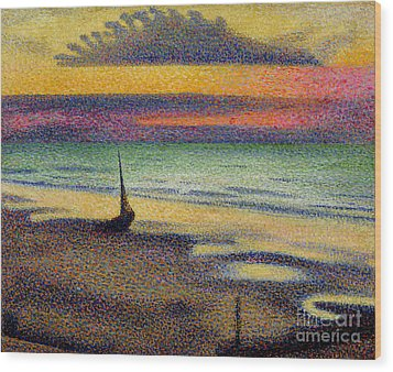 The Beach At Heist Wood Print by Georges Lemmen
