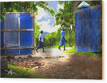 The Blue Gate Wood Print by Bob Salo