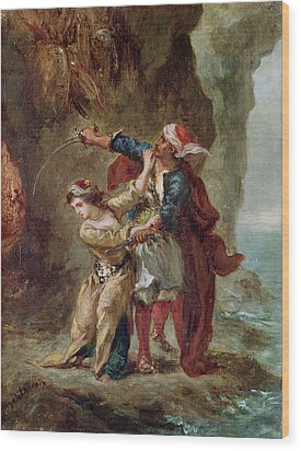 The Bride Of Abydos Wood Print by Ferdinand Victor Eugene Delacroix