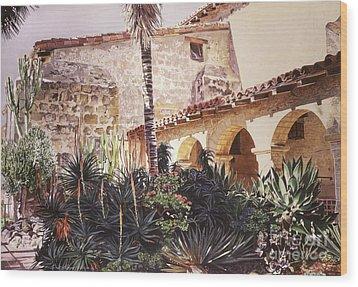 The Cactus Courtyard - Mission Santa Barbara Wood Print by David Lloyd Glover