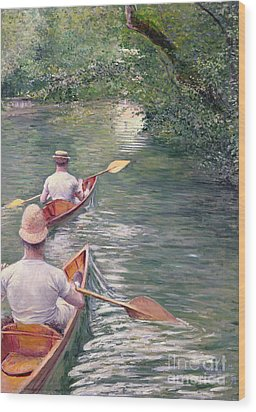 The Canoes Wood Print by Gustave Caillebotte