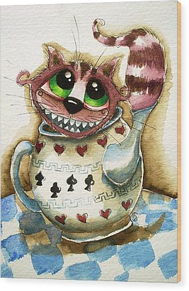 The Cheshire Cat - In A Teapot Wood Print by Lucia Stewart