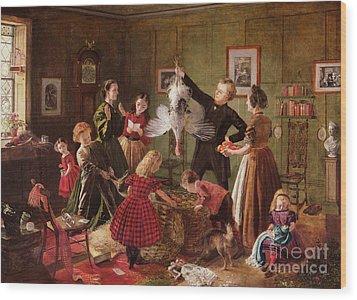 The Christmas Hamper Wood Print by Robert Braithwaite Martineau