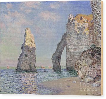 The Cliffs At Etretat Wood Print by Claude Monet