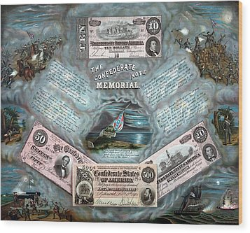 The Confederate Note Memorial  Wood Print by War Is Hell Store