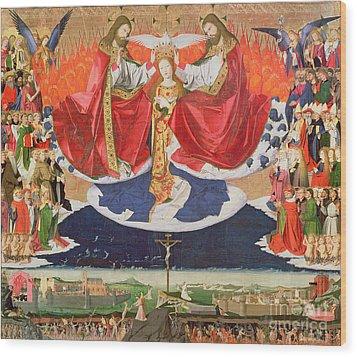 The Coronation Of The Virgin Wood Print by Enguerrand Quarton