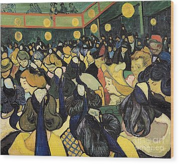 The Dance Hall At Arles Wood Print by Vincent Van Gogh