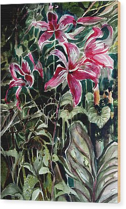 The Day Lilies Wood Print by Mindy Newman