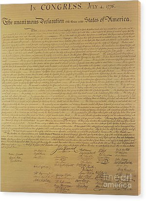 The Declaration Of Independence Wood Print by Founding Fathers