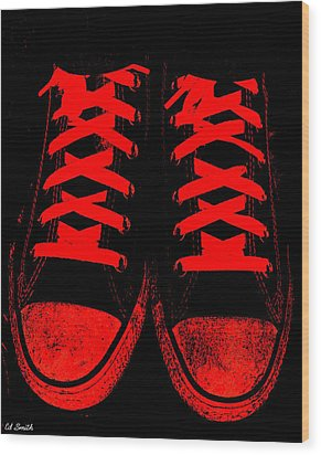 The Devil Wears Converse Wood Print by Ed Smith