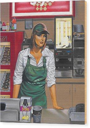 The Donut Shop Wood Print by Glenn Bernabe
