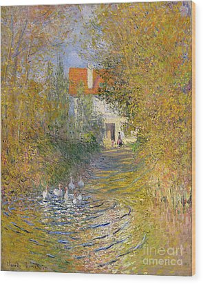 The Duck Pond Wood Print by Claude Monet