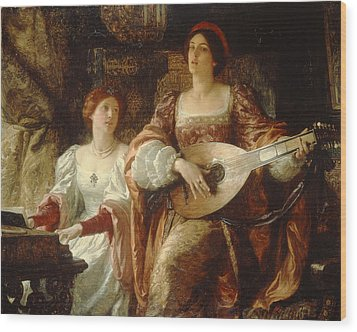 The Duet Wood Print by Sir Frank Dicksee