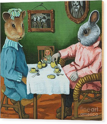 The Easter Tea Party Wood Print by Linda Apple