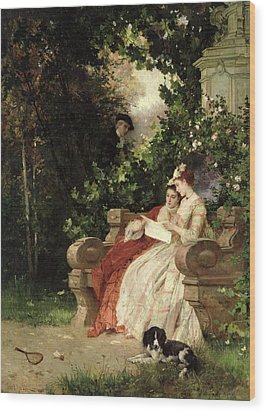 The Eavesdropper Wood Print by Carl Heinrich Hoff