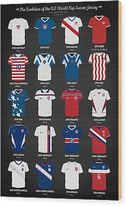 The Evolution Of The Us World Cup Soccer Jersey Wood Print by Taylan Apukovska