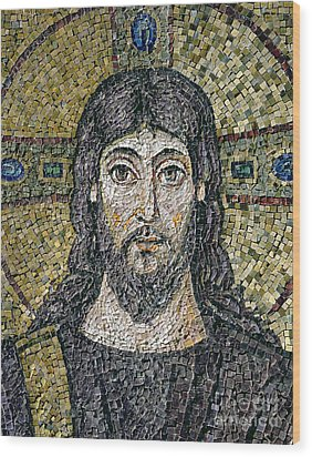 The Face Of Christ Wood Print by Byzantine School