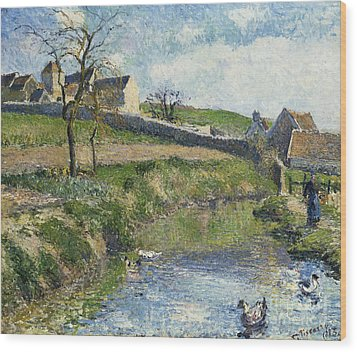 The Farm At Osny Wood Print by Camille Pissarro