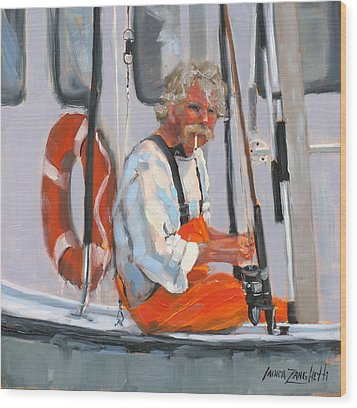 The Fisherman Wood Print by Laura Lee Zanghetti