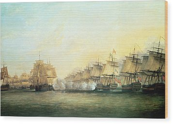 The Fourth Action Off Trincomalee Between The English And The French Wood Print by Dominic Serres