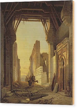 The Gates Of El Geber In Morocco Wood Print by Francois Antoine Bossuet