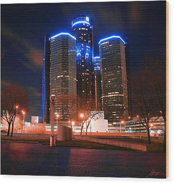 The Gm Renaissance Center At Night From Hart Plaza Detroit Michigan Wood Print by Gordon Dean II