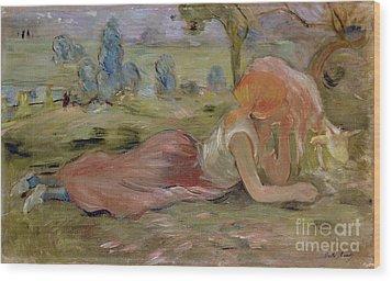 The Goatherd Wood Print by Berthe Morisot