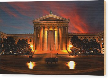 The Golden Columns - Philadelphia Museum Of Art - Sunset Wood Print by Lee Dos Santos