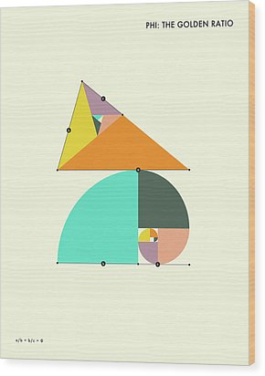 Phi - The Golden Ratio Wood Print by Jazzberry Blue