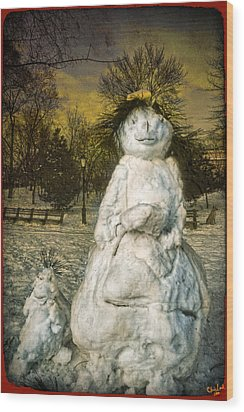 The Grunge Snowperson And Small Goth Friend Wood Print by Chris Lord