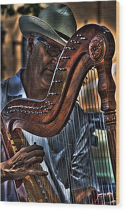 The Harp Player Wood Print by David Patterson
