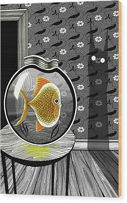 The Haunted Goldfish Bowl  Wood Print by Andrew Hitchen
