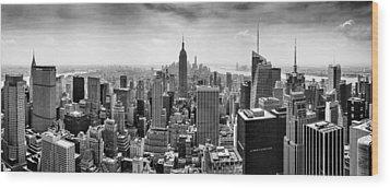 New York City Skyline Bw Wood Print by Az Jackson
