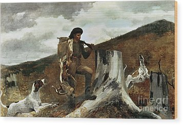 The Hunter And His Dogs Wood Print by Winslow Homer