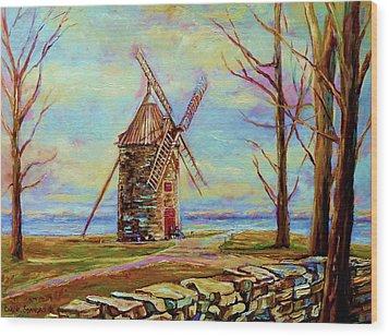 The Ile Perrot Windmill Moulin Ile Perrot Quebec Wood Print by Carole Spandau