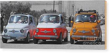 The Italian Small Car Wood Print by Alessandro Matarazzo
