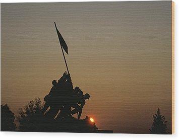 The Iwo Jima Memorial Silhouetted Wood Print by Kenneth Garrett