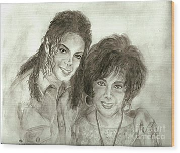 The King Of Pop And Elizabeth Taylor Wood Print by Nicole Wang