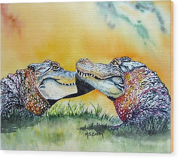 The Kiss Wood Print by Maria Barry