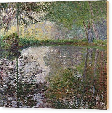 The Lake At Montgeron Wood Print by Claude Monet