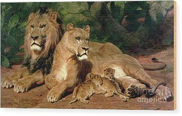 The Lions At Home Wood Print by Rosa Bonheur