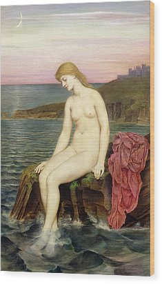 The Little Sea Maid  Wood Print by Evelyn De Morgan