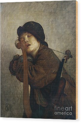 The Little Violinist Sleeping Wood Print by Antoine Auguste Ernest Hebert
