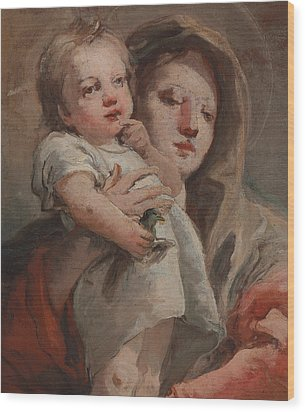 The Madonna And Child With A Goldfinch Wood Print by Tiepolo