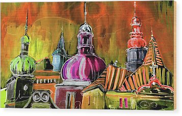 The Magical Rooftops Of Prague 01 Wood Print by Miki De Goodaboom